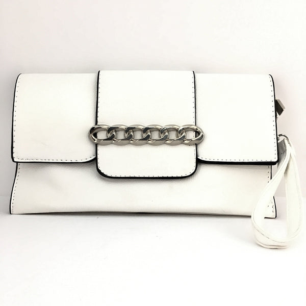 White Chain Detail Faux Leather Clutch | Fashion Jewellery Outlet