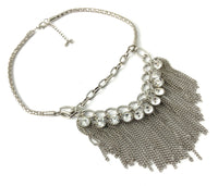 Chains & Crystals Statement Necklace, Silver | Fashion Jewellery Outlet