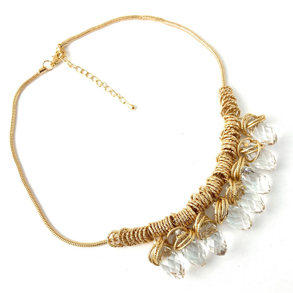 Gold Crystal Drop Necklace | Fashion Jewellery Outlet
