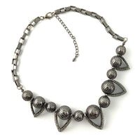 Filigree Ball Necklace with Crystals, Gunmetal | Fashion Jewellery Outlet