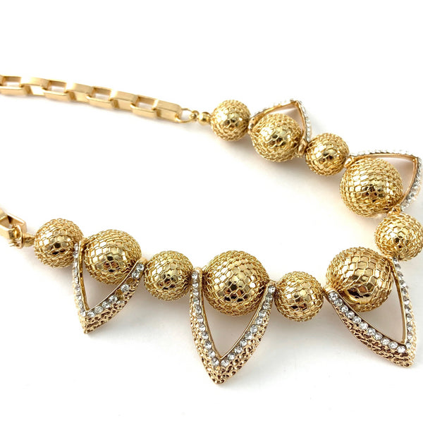 Filigree Ball Necklace with Crystals, Gold | Fashion Jewellery Outlet