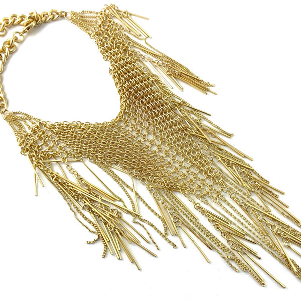Long Chainmaille Necklace, Gold | Fashion Jewellery Outlet