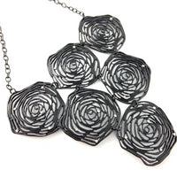 Black Enamel Rose Necklace | Fashion Jewellery Outlet