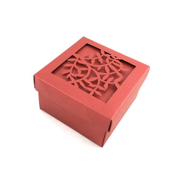 Square Laser Cut Burgundy Paper Gift Box | Fashion Jewellery Outlet
