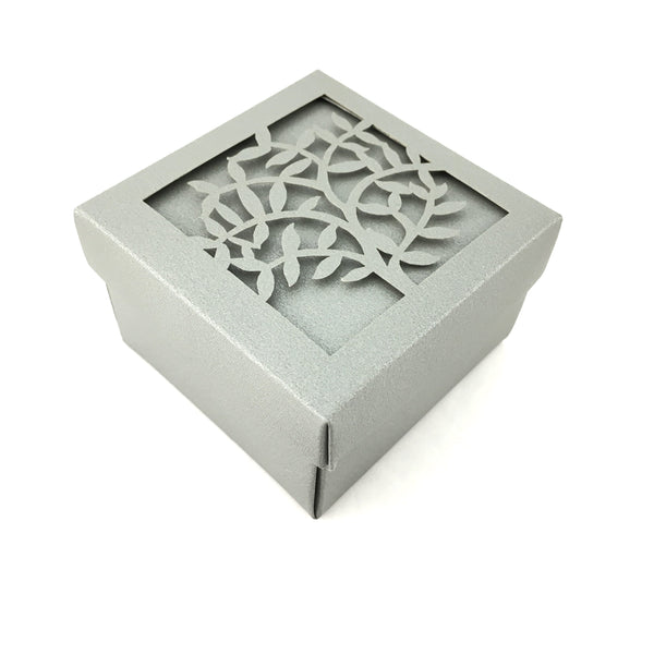 Square Laser Cut Grey Paper Gift Box | Fashion Jewellery Outlet