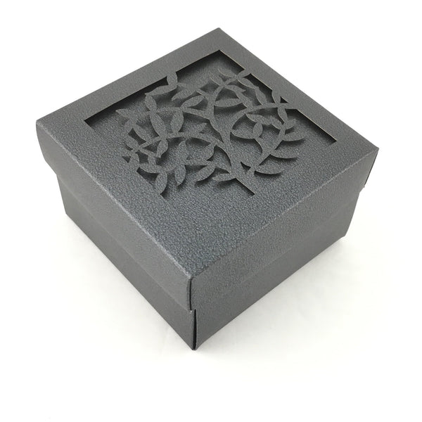 Square Laser Cut Black Paper Gift Box | Fashion Jewellery Outlet
