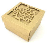 Square Laser Cut Beige Paper Gift Box | Fashion Jewellery Outlet
