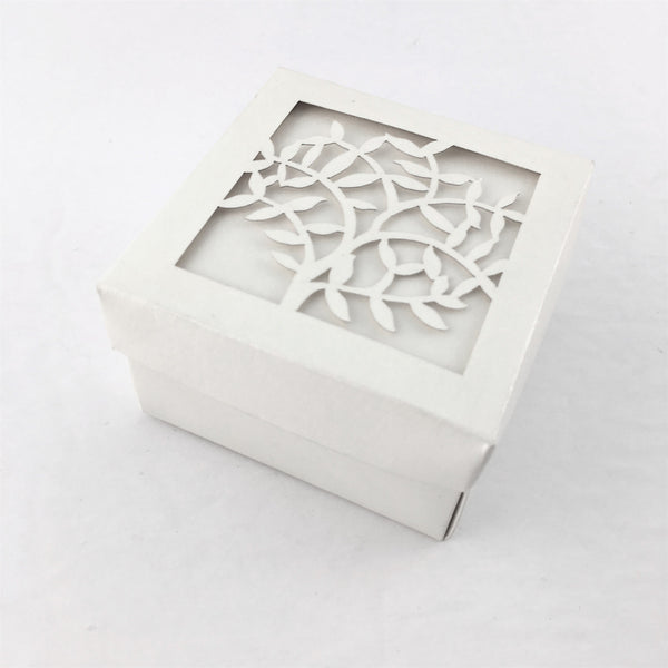 Square Laser Cut White Paper Gift Box | Fashion Jewellery Outlet