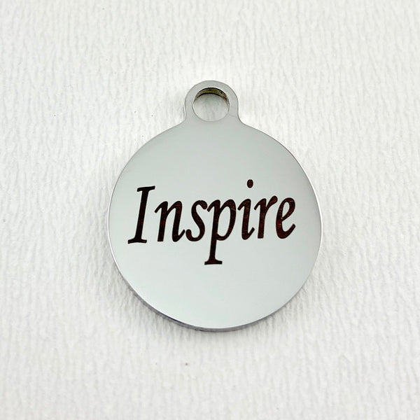 Inspire Engraved Steel Charm, Laser Engraved Charm | Fashion Jewellery Outlet