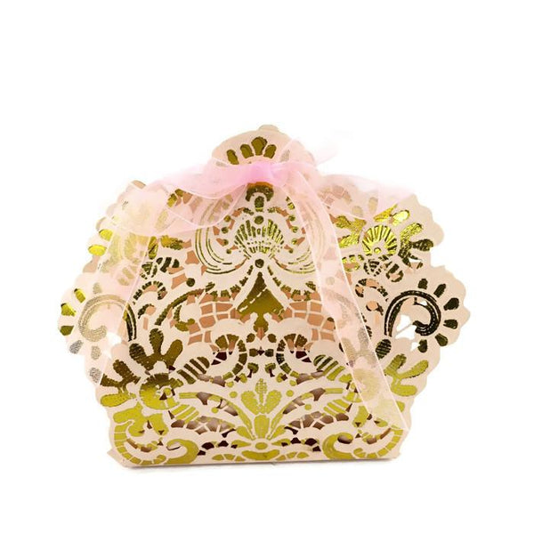 Pink with Gold Laser Cut Paper Gift Box | Fashion Jewellery Outlet