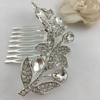 Silver Hair Comb, Crystal Flower, Bridal Hair Piece | Fashion Jewellery Outlet