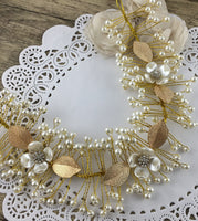 Gold Flexible Pearl Hair Vine, Bridal Hair Piece | Fashion Jewellery Outlet