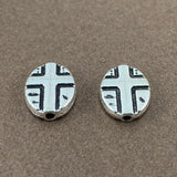Cross Beads Oval Shape, Antique Silver Bead | Fashion Jewellery Outlet