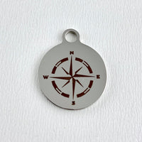 Compass Logo Laser Engraved Charm | Fashion Jewellery Outlet