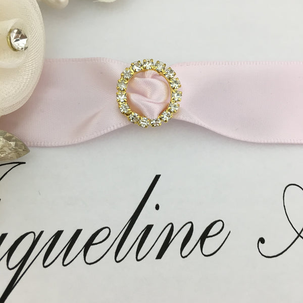 Round Rhinestone Invitation Buckle Gold | Fashion Jewellery Outlet