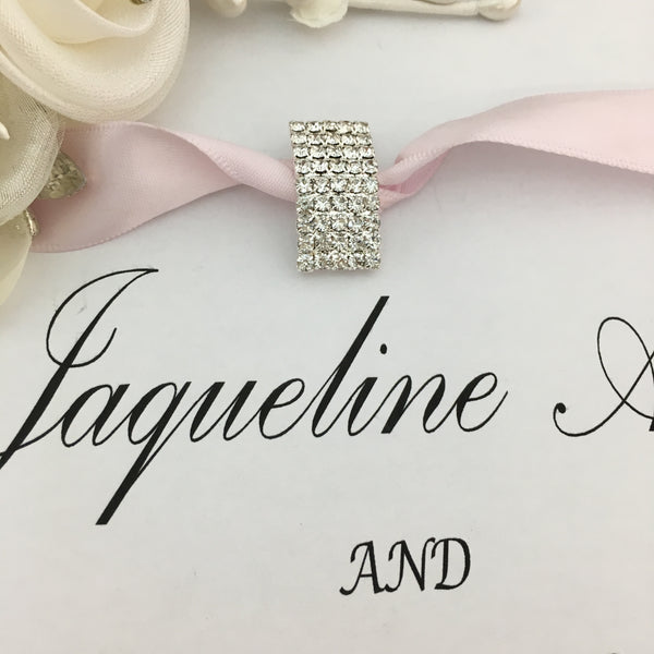Silver Big Rectangle Rhinestone Invitation Buckle | Fashion Jewellery Outlet