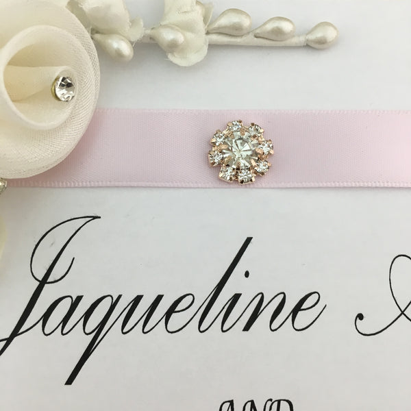 Rose Gold Small Round Rhinestone Invitation Buckle Embellishments  | Fashion Jewellery Outlet