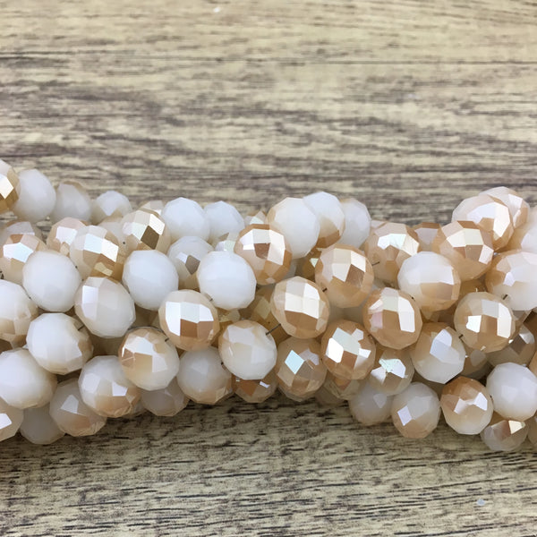 10mm Faceted Rondelle Half Coated Bone Color with Golden Glass Bead | Fashion Jewellery Outlet