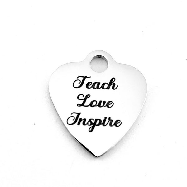 Teach Love Inspire Heart Charm Engraved | Fashion Jewellery Outlet