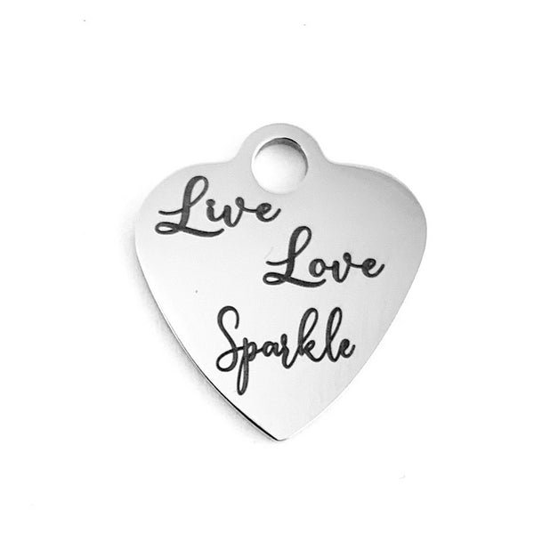Live Love Sparkle Laser Engraved Charm | Fashion Jewellery Outlet