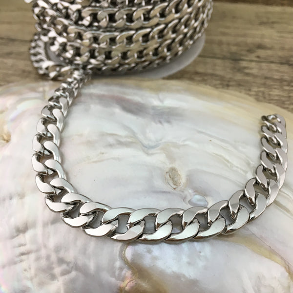 Silver Alloy Curb Flat Jewelry Chain | Fashion Jewellery Outlet