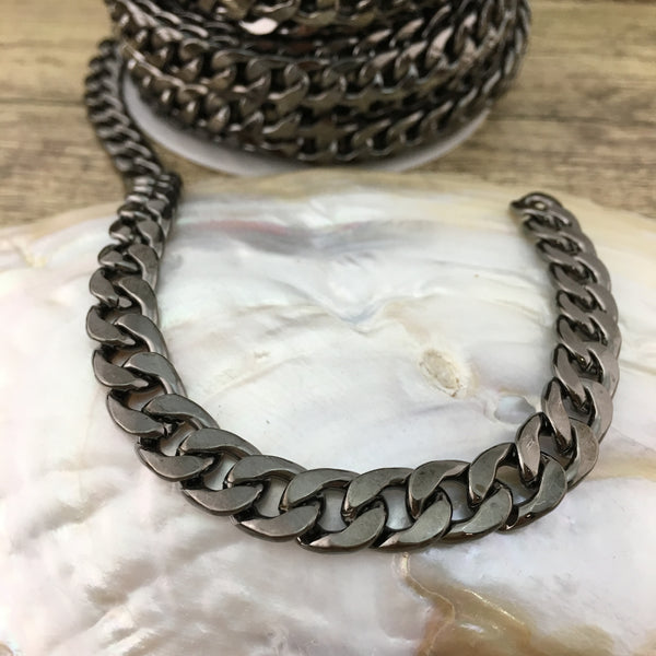 Gunmetal Alloy Curb Flat Jewelry Chain | Fashion Jewellery Outlet