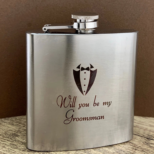 Personalized Groomsmen Gift, Engraved Whiskey Flask | Fashion Jewellery Outlet