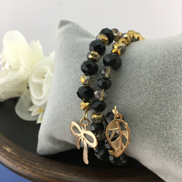 Black & Gold Memory Wire Bracelet | Fashion Jewellery Outlet