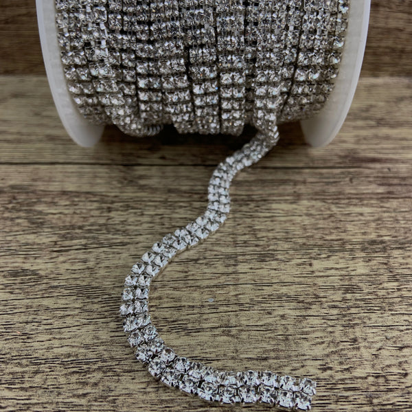 2 Row Silver Rhinestone Chain, Clear Stones | Fashion Jewellery Outlet