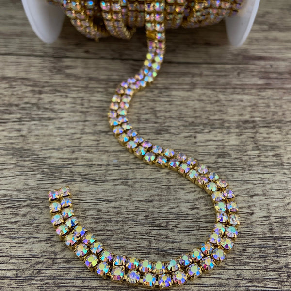 2 Row Gold Rhinestone Chain, AB Stones | Fashion Jewellery Outlet