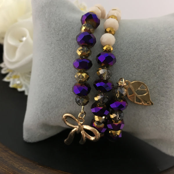Purple and Nude Memory Wire Bracelet | Fashion Jewellery Outlet