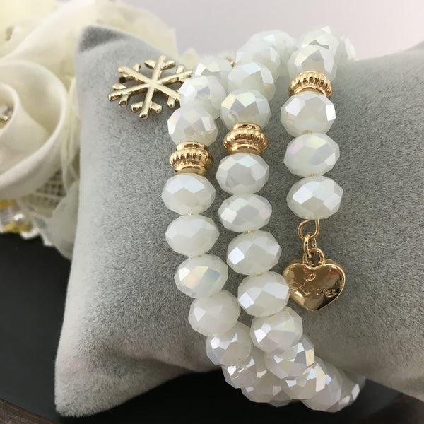 White and Gold Memory Wire Bracelet | Fashion Jewellery Outlet