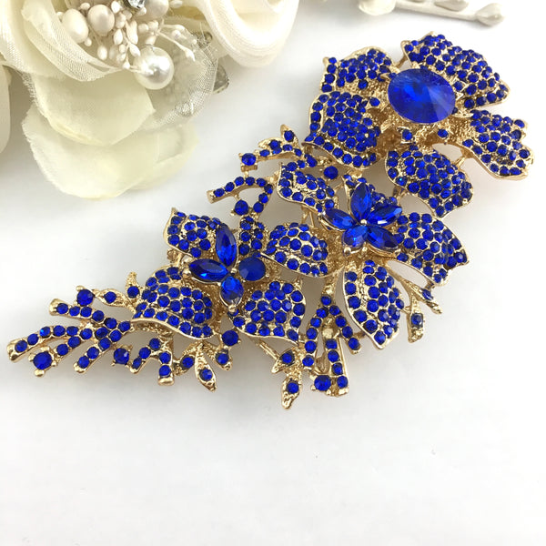 Gold with Blue Rhinestones Brooch Pin | Fashion Jewellery Outlet