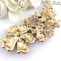 Gold with Red Rhinestones Brooch Pin | Fashion Jewellery Outlet
