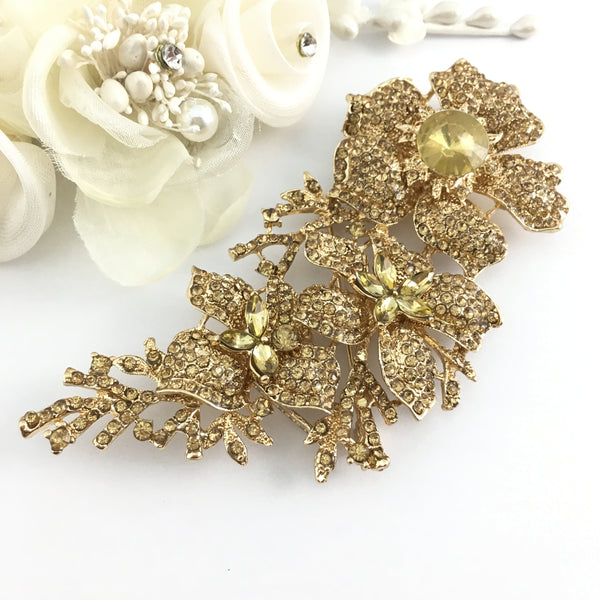 Gold with Gold Rhinestones Brooch Pin | Fashion Jewellery Outlet