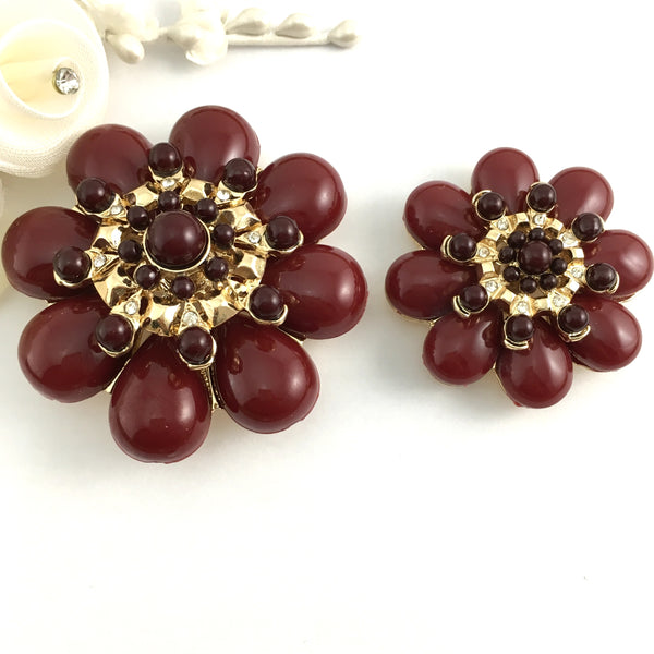 Flower Shape Burgundy Brooch Pin for Necklace and Bracelet | Fashion Jewellery Outlet