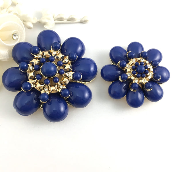 Flower Shape Blue Brooch Pin for Necklace and Bracelet | Fashion Jewellery Outlet