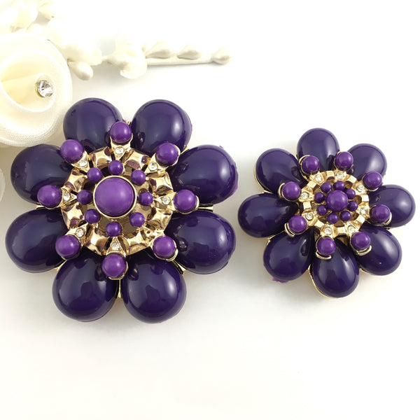 Flower Shape Purple Brooch Pin | Fashion Jewellery Outlet