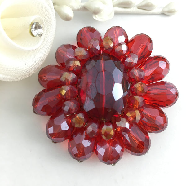 Flower Shape Burgundy Glass Bead Brooch Pin | Fashion Jewellery Outlet