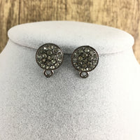 Gunmetal Earring Post with Black Stones | Fashion Jewellery Outlet