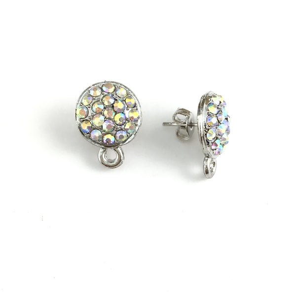 Rhodium Earring Post with AB Stones | Fashion Jewellery Outlet