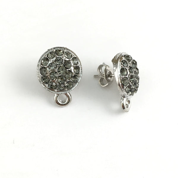 Rhodium Earring Post with Black Stones | Fashion Jewellery Outlet