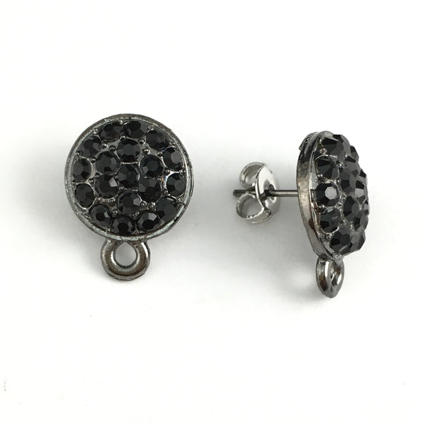 Gunmetal Earring Post with Jet Black Stones | Fashion Jewellery Outlet