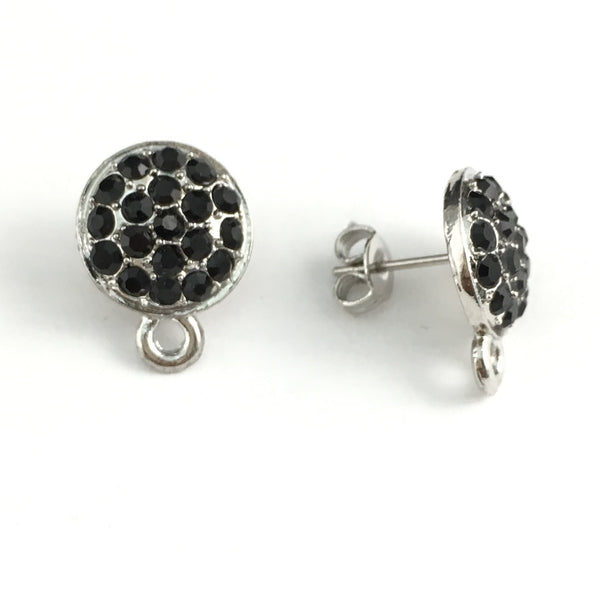 Rhodium Earring Post with Jet Black Stones | Fashion Jewellery Outlet
