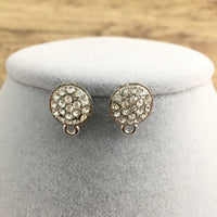 Rhodium Earring Post with Clear Stones | Fashion Jewellery Outlet