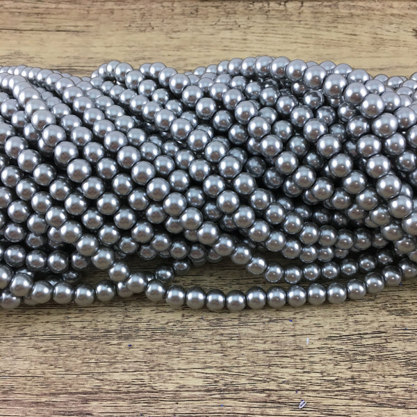 6mm Faux Grey Glass Pearl | Fashion Jewellery Outlet