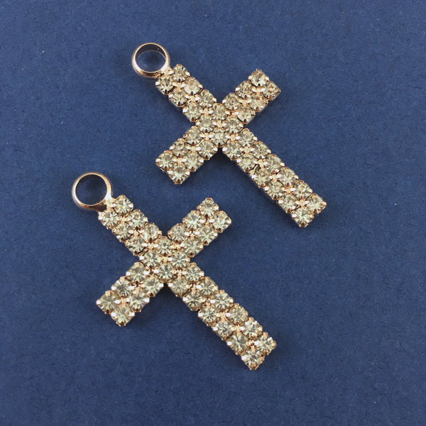 Alloy 2 Row Rhinestone Rose Gold Cross Charm | Fashion Jewellery Outlet