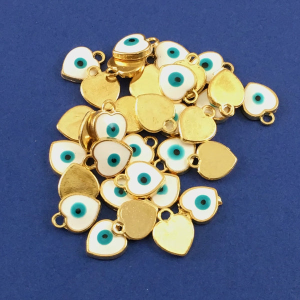 Alloy Charm White Heart Evil Eye Charm | Fashion Jewellery Outlet