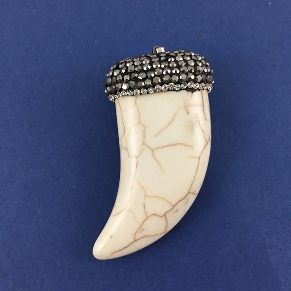Big White Howlite Horn Pendant | Fashion Jewellery Outlet