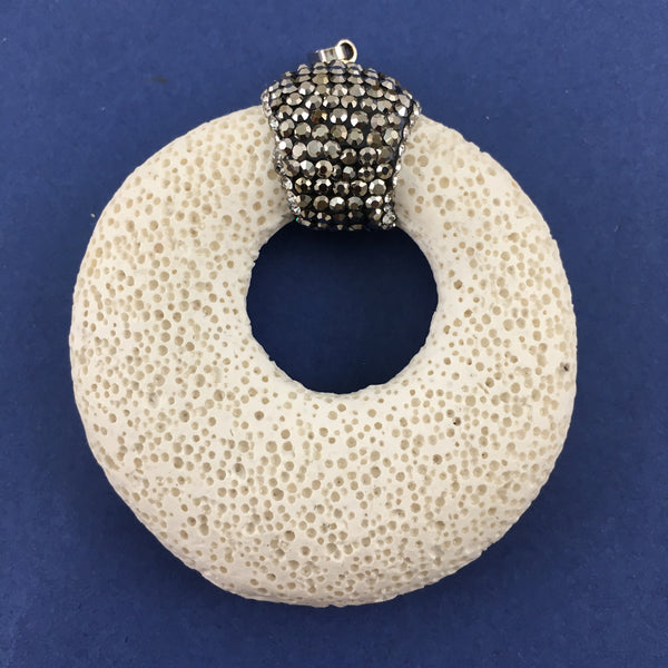 White Lava Pendant with Pave Stones | Fashion Jewellery Outlet